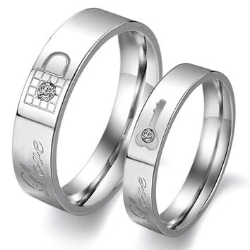 Cute Titanium Steel Matching Promising Rings Set = 1930087748