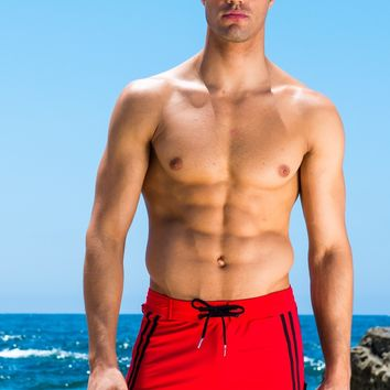 Sauvage Red Moderno Two-Tone Swim Trunks