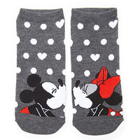 FOREVER 21 Mickey & Minnie Kissing Socks Charcoal/Black One