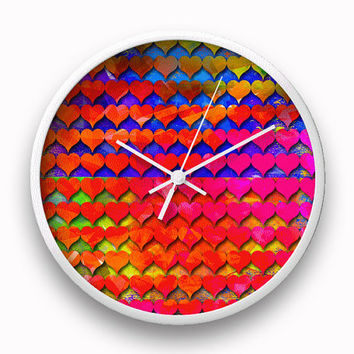 Heart clock, Colorful wall clock, Unique home decor, Rainbow clock, Round clock, Holiday Hostess Newlyweds Birthday Housewarming Gift Idea