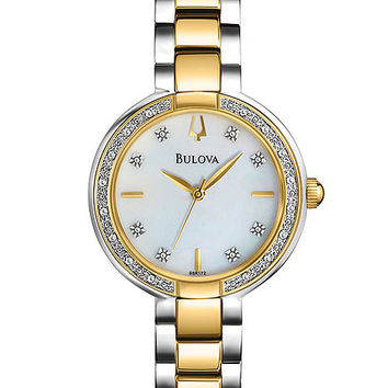 Bulova Aracena Two-Tone Diamond Ladies Dress Watch - MOP Dial - Bracelet