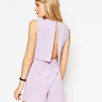 ASOS Playsuit with Open Back and Pleat Detail