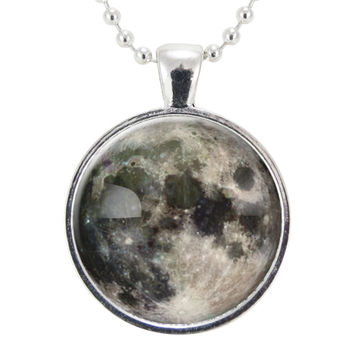 Full Moon Necklace On Silver Plate