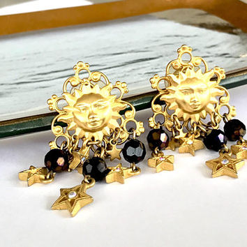 Kirks Folly Dangle Earrings  Medusa Sun Stars  Gold Plate Filigree  Aurora Borealis Crystal  Faceted Iridescent Black Beads  Signed  Vintage
