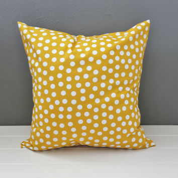Yellow and White Polka Dot Pillows: Golden Yellow Pillows, Modern Classic Decorative Throw Pillows, Mustard Yellow, Gender Neutral Nursery