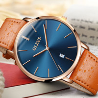 OLEVS Chronograph Casual Watches Men Luxury Brand Quartz Calendar Watch Male Sport Genuine Leather Wristwatch Relogio Masculino
