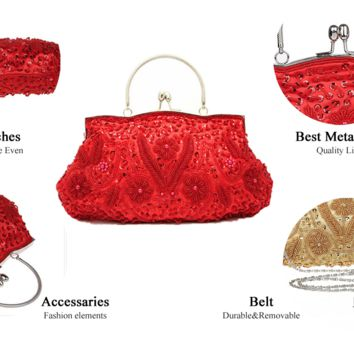 Beaded sequined and embroidered clutch with detachable strap