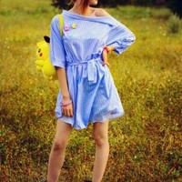 Blue Off Shoulder Stripe Print Button Side Bow Waist Dress - Choies.com