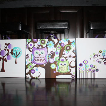 Set of 3 Pretty in Purple Owls Stretched Canvases Baby Nursery CANVAS Bedroom Wall Art 3CS065