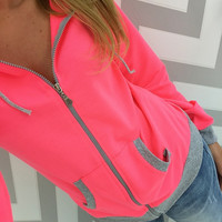 Color Contrast Ribbed Trim Zip-Up Hoodie