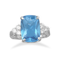 Rhodium Plated Blue Cubic Zirconia Ring