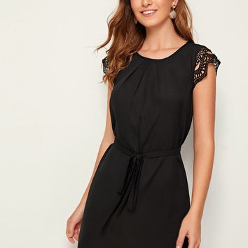 Guipure Lace Sleeve Belted Tunic Dress