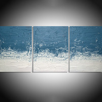 """ARTFINDER: """" Turquoise Persuasion """"  extra large triptych 3 piece impasto painting for home or office 54 x 24"""" by Stuart Wright - """" Turquoise Persuasion """"  extra large triptych ..."""