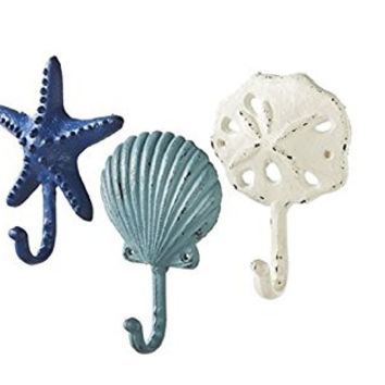 Sea Treasures Wall Hooks - Set of 3 - Antique Weathered Hangers - Scallop, Sand Dollar, Sea Star / Starfish
