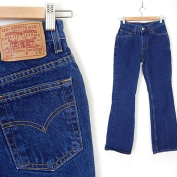 Vintage 80s High Waisted Boot Cut Levis 517 Women's Jeans - Size 3 - Indigo Blue Denim Flared Made in USA Cowgirl Jeans