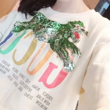 Gucci All-match Women Casual Sequin Pattern Cotton Round Neck Long Sleeve Sweater