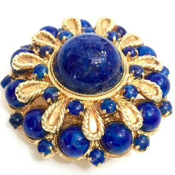 Christian Dior Faux Lapis Brooch, Germany 1968, 3 Sizes Glass Cabs Lazuli Beads, Layered Design, Gold Tone Twisted Accent, Designer Signed