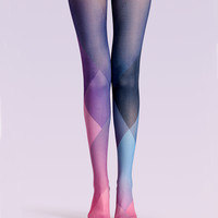 "Women's Fashion ""The Color Palette"" Printed Pattern High Waist Tights Pantyhose VK0142 by Fashnin.com"