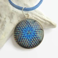 Abstract pattern kaleidoscope blue yellow red round glass necklace
