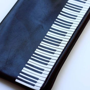 Music Keyboard Leather Pouch Black and White