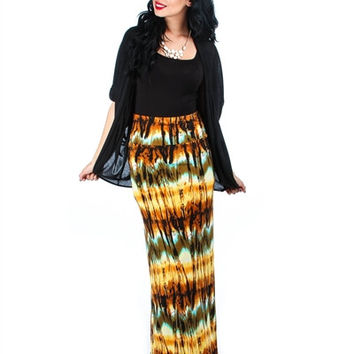 Tie Dye Printed Fold Over Maxi Skirt