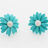 Fashion the double stereo daisies sunflowers earrings