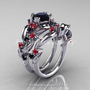 Nature Classic 14K White Gold 1.0 Ct Black Diamond Rubies Leaf and Vine Engagement Ring Wedding Band Set R340S-14KWGRBD