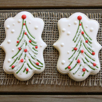 Christmas Party Favors / Christmas Sugar Cookies / Christmas Gifts for Teachers / Gift Basket / Christmas Tree Sugar Cookies  - 12 cookies