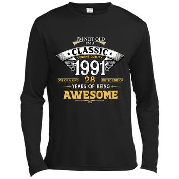 Classic Funny 1991 28th Birthday T-shirts Years Of Awesome Long Sleeve Moisture Absorbing Shirt