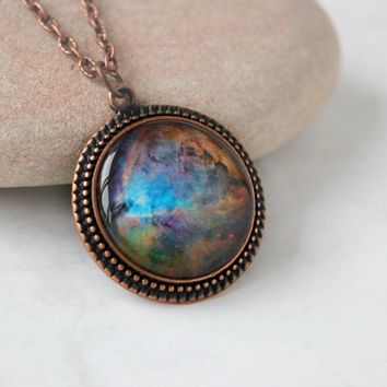 Orion Nebula Necklace, Antique Copper Pendant,Glass Cabochon Pendant With Chain