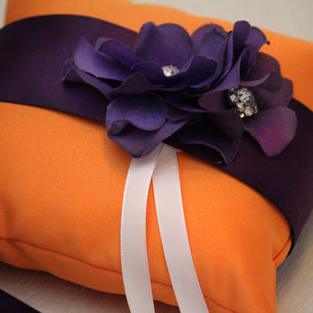 Orange Purple Pillow, attached to dog collar, Dog Ring Bearer Pillow