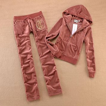 Juicy Couture Original Velour Tracksuit 613 2pcs Women Suits Yellow