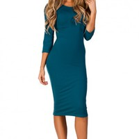 Margo Teal Blue 34 Sleeve Jersey Bodycon Midi Dress