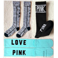 Victoria Women being express it in Pink Socks, sports leisure beautiful Socks  A set for THREE pairs