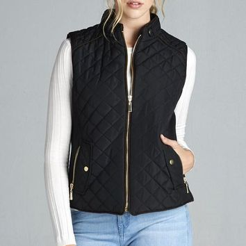 Quilted Fall Vest - Black