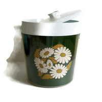 Vintage Ice Bucket, Thermo Serv, West Bend, Olive Green, Daisies, Hippie, Insulated, Retro Barware, Made in USA,