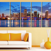 Canvas Print Miami City Skyline at Night - 3 Panel (3 Piece) Miami Beach Canvas Art Print - Framed and Streched Crisp Prints