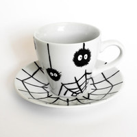 Soot Sprites Espresso Cup and Saucer Set - Hand Painted Coffee Set - My Neighbor Totoro - Hayao Miyazaki
