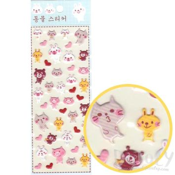 Cartoon Kitty Cat Rabbit Pigs and Bears Shaped Puffy Stickers for Scrapbooking and Decorating