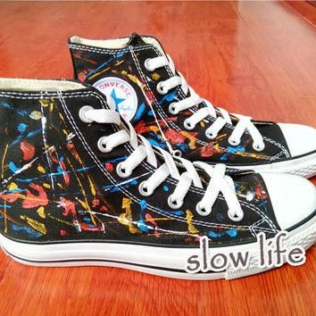 Splash-ink wind-painted shoes/Converse canvas shoes/Custom canvas shoes/Sneakers/graff