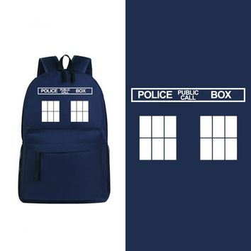 2017 New Candy Color Doctor Who Tardis Canvas Printing Backpack Travel Men's Backpacks School Bags for Teenagers Rucksack