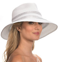 Eric Javits Designer Women's Head-wear Sinclair Hat (White/Silver)