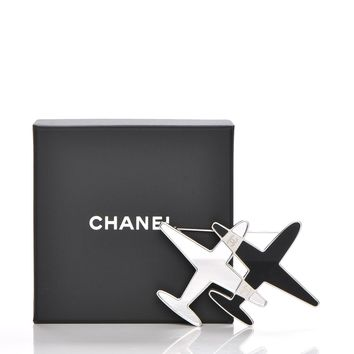 CHANEL Metal Resin Mirror CC Airplane Brooch Black Silver