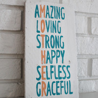 Mother Amazing Loving Strong Happy Selfless Graceful Reclaimed Customizable Wood Mother's Day Sign