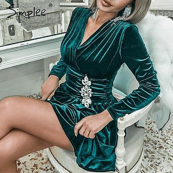 Simplee Sexy v-neck velet dress Elegant long sleeve crystal ruched short party dress Office lady chic autumn winter mini dress