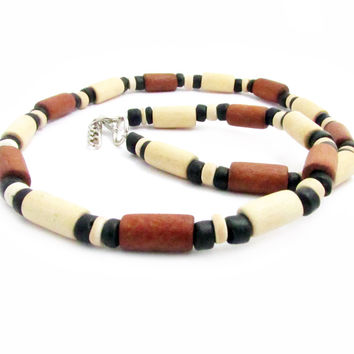 Surfer Wood Bead Necklace, Men's Surfer by earthlietreasures on Zibbet