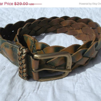 BIG SALE Vintage Braided Hippie Belt 1970s Brass Buckle Green Ombre Dyed Patina