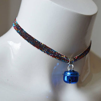 Kitten play day choker - glitter velvet ribbon - rainbow with blue bell - kittenplay ddlg cute necklace for everyday wearing