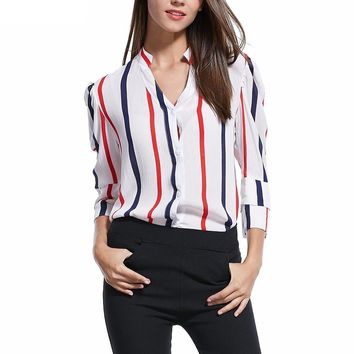 Casual Lantern Sleeve Striped Blouse