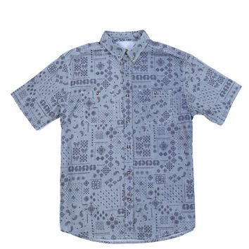 Paisley Short Sleeve Button Down Blue
